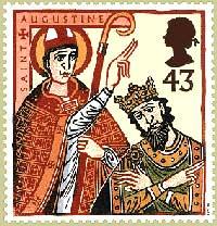 Engelsk frimerke som viser Augustin og kong Ethelbert